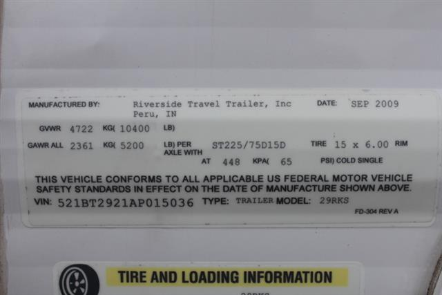 Used 2010 Forest River Riverside 29RKS Travel Trailer For Sale