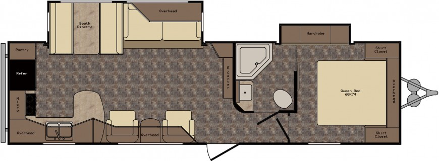 View Floor Plan for 2016 CROSSROADS ZINGER REZERVE 29RK