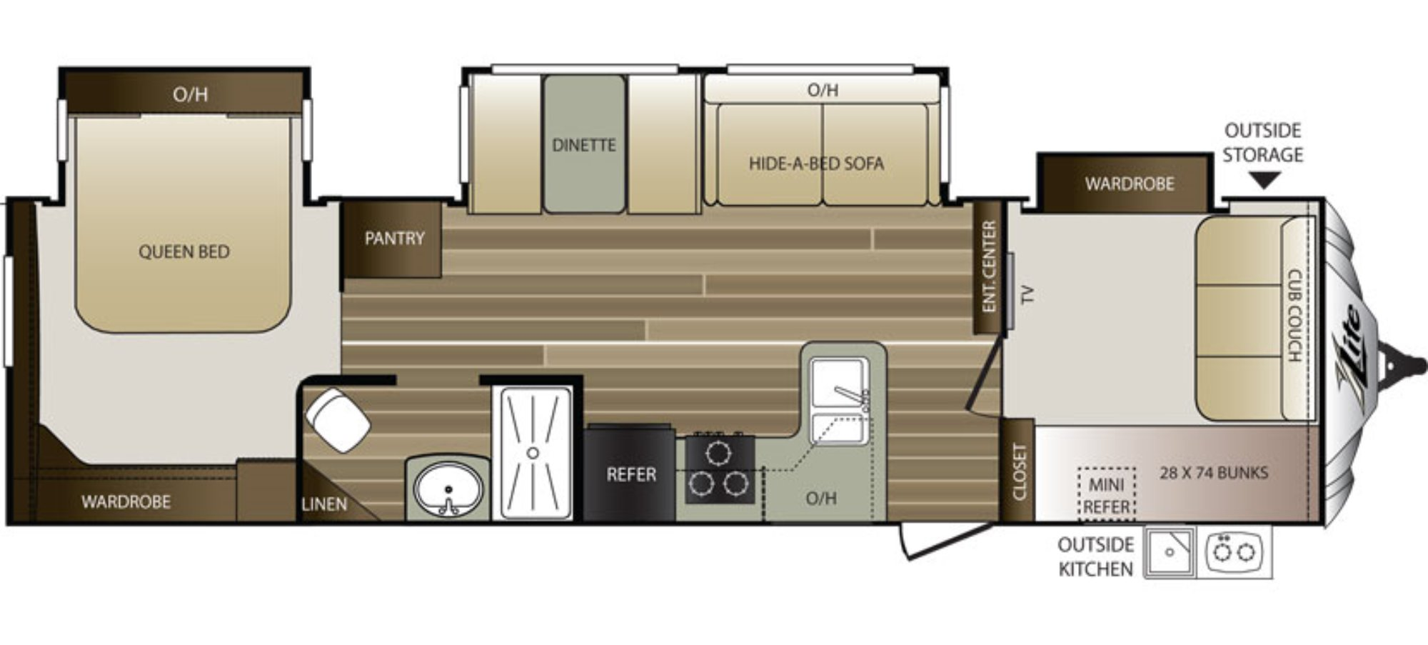 View Floor Plan for 2016 KEYSTONE COUGAR 32FBS