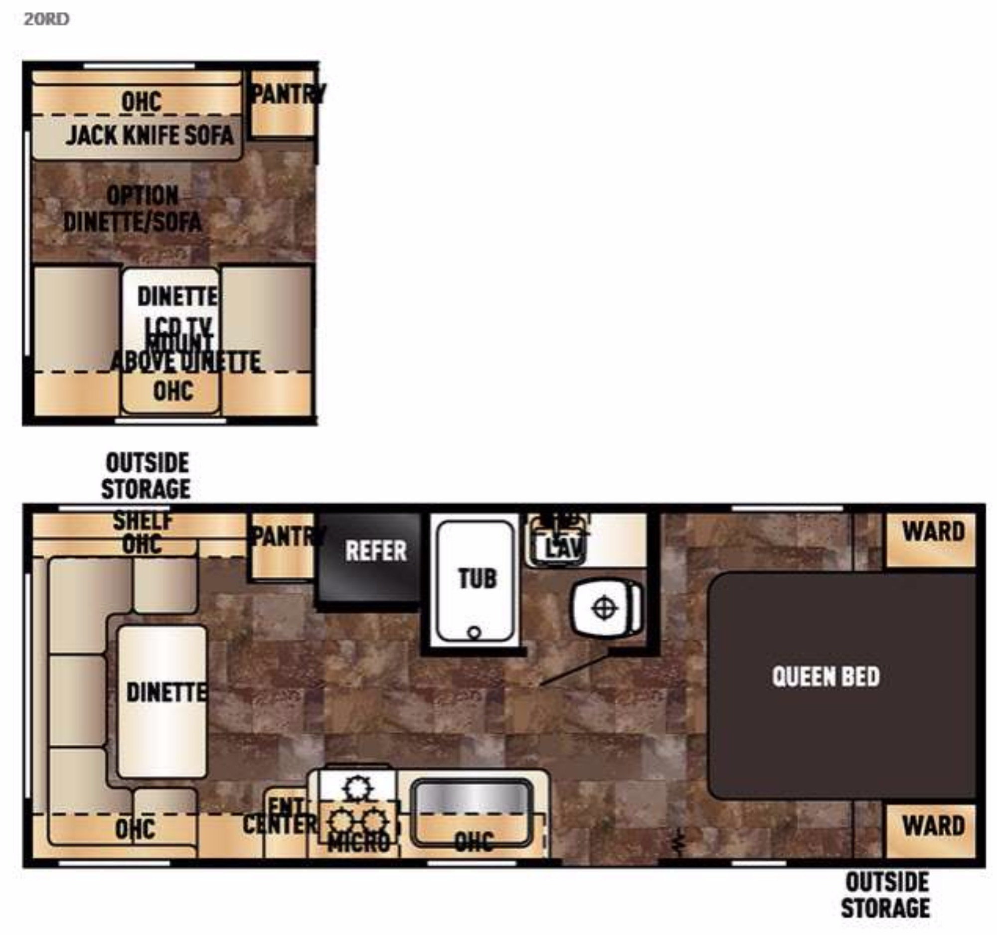 View Floor Plan for 2016 FOREST RIVER GREY WOLF 20RDSE