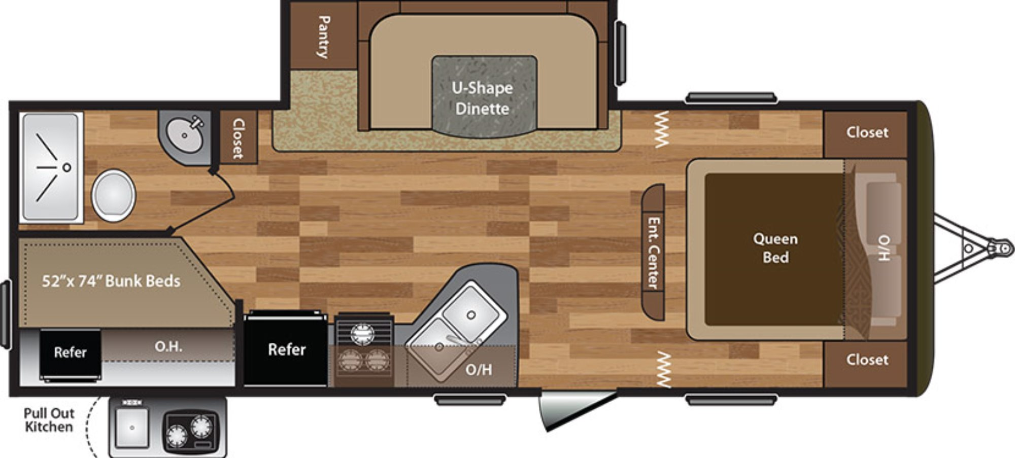 View Floor Plan for 2016 KEYSTONE HIDEOUT 242LHS
