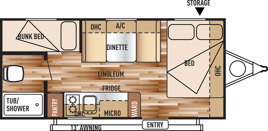View Floor Plan for 2016 FOREST RIVER WILDWOOD X-LITE 195BHXL