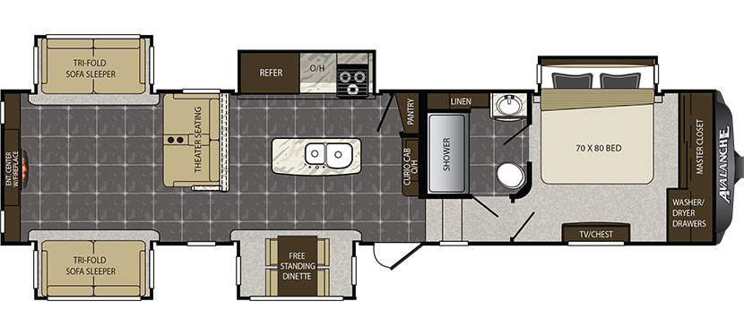 Floor Plan image for '2016 KEYSTONE AVALANCHE 370RD'