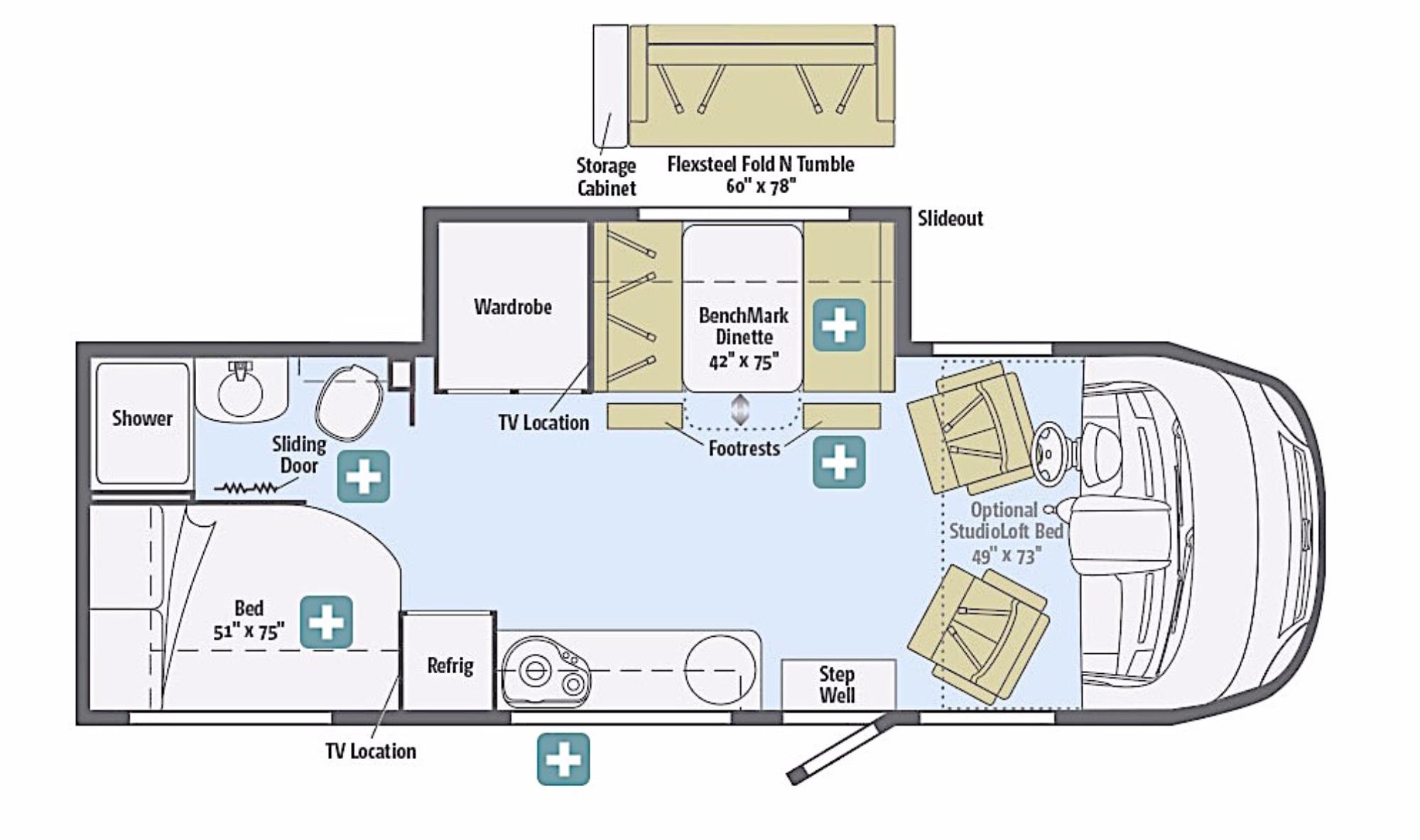 View Floor Plan for 2016 WINNEBAGO VIA 25P