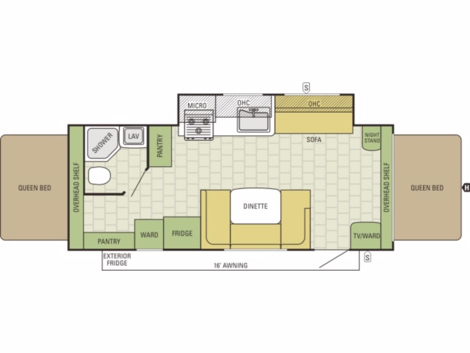 View Floor Plan for 2016 STARCRAFT TRAVEL STAR 227CKS