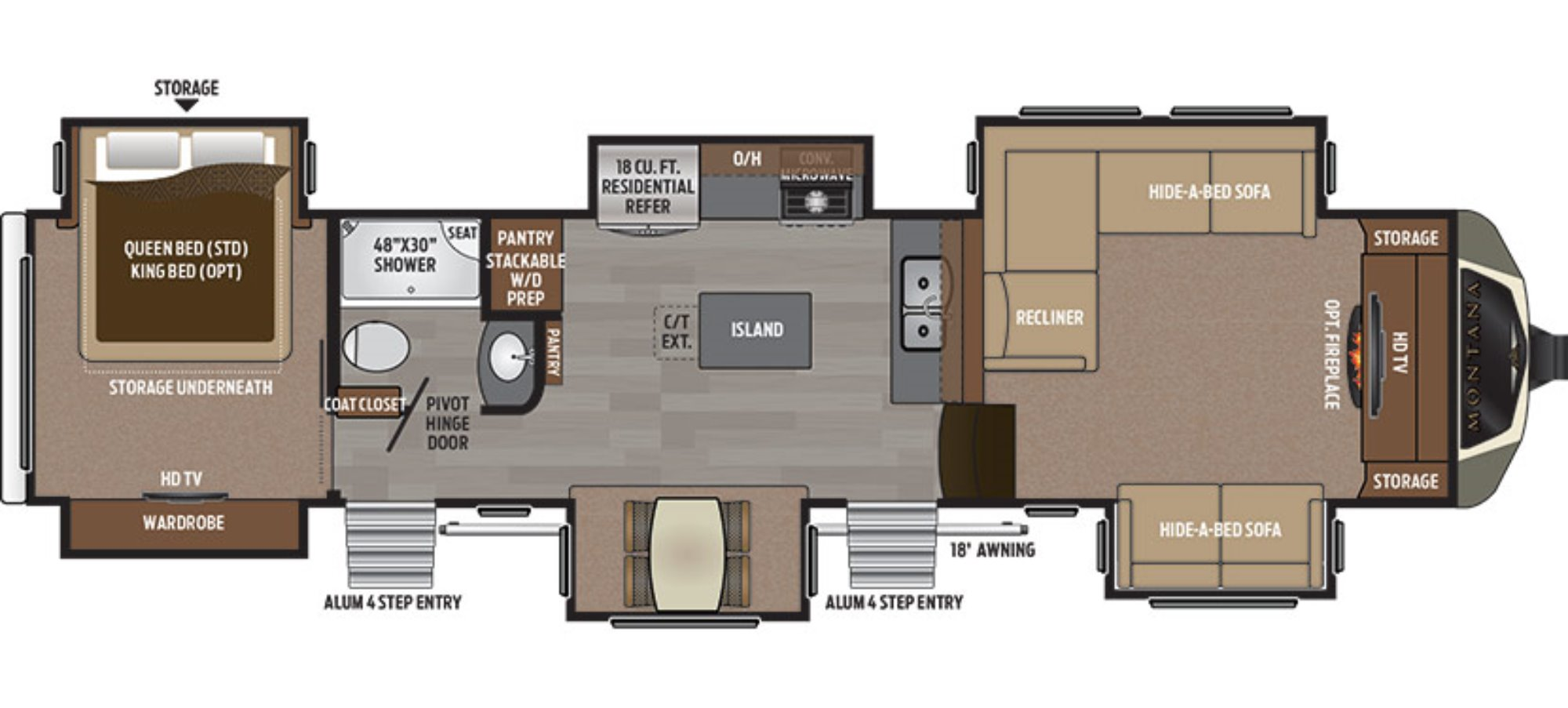 5th Wheel With Front Living Room For Sale. 2012 Open Range