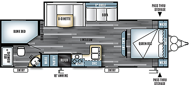 View Floor Plan for 2016 FOREST RIVER SALEM CRUISE LITE 262BHXL