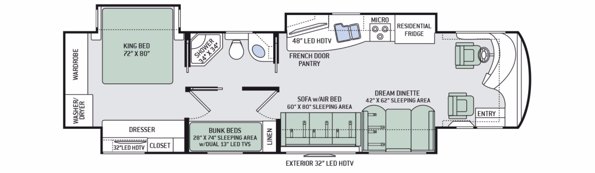 View Floor Plan for 2016 THOR TUSCANY XTE 40BX