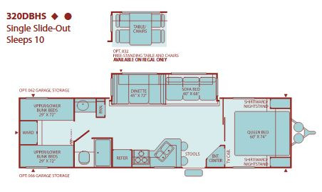 Floor Plan : 2005-FLEETWOOD-320DBHS