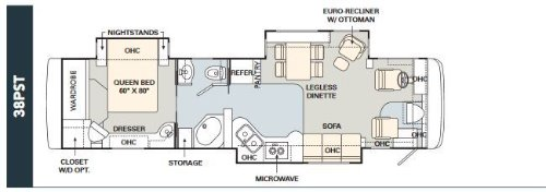 Floor Plan : 2005-MONACO-38PST 400HP