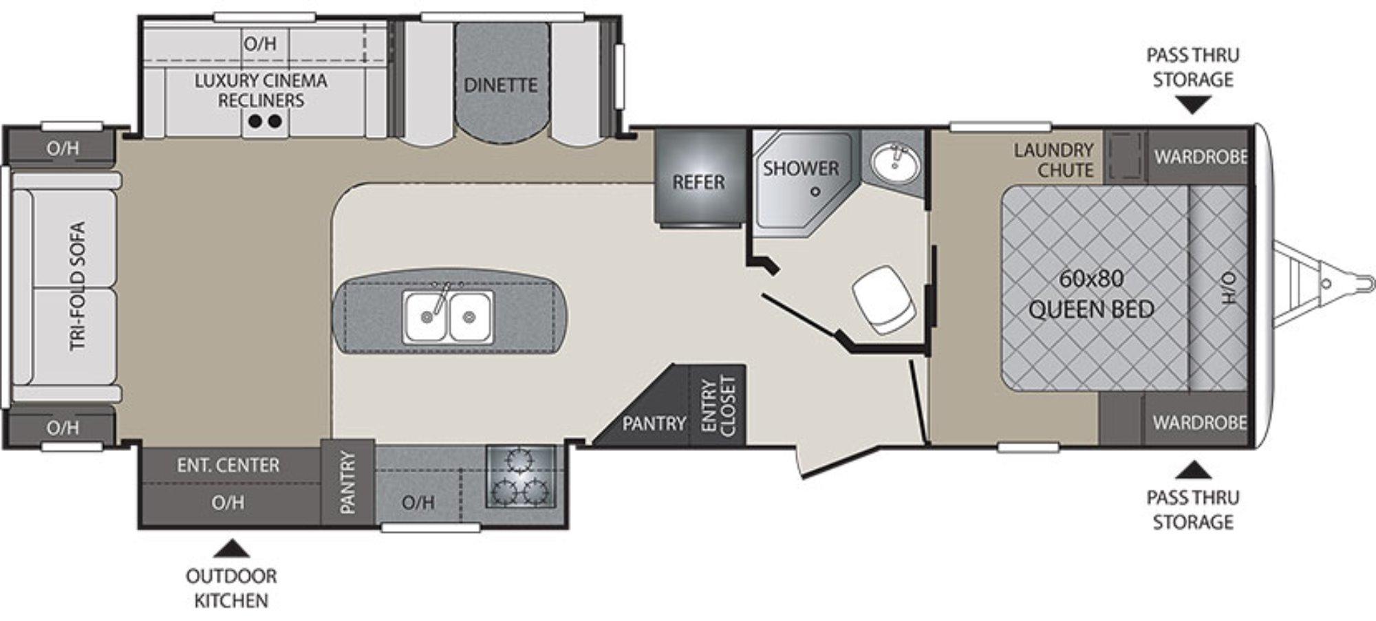 View Floor Plan for 2016 KEYSTONE PREMIER 30RI