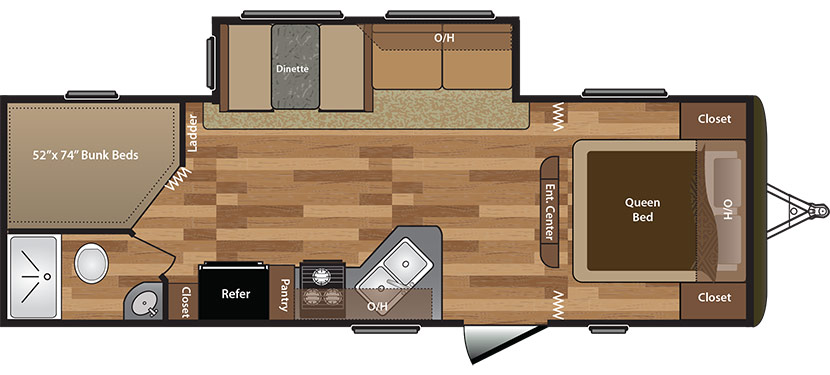View Floor Plan for 2016 KEYSTONE HIDEOUT 272LHS
