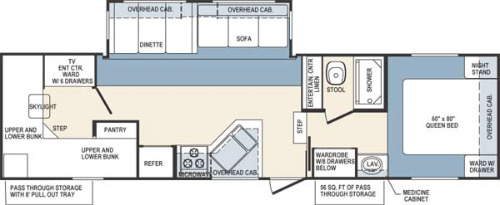 Floor Plan : 2004-FOREST RIVER-31QBH
