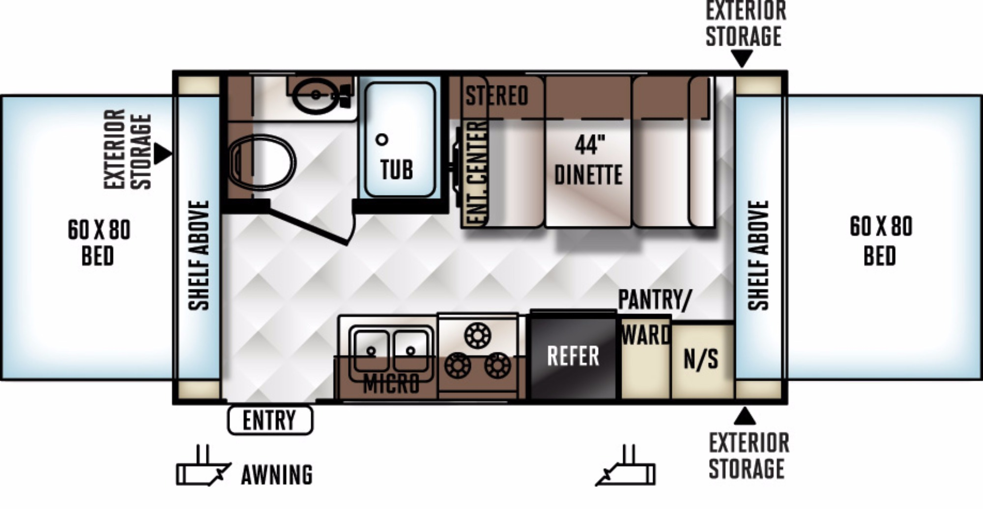 View Floor Plan for 2016 FOREST RIVER ROCKWOOD ROO 17