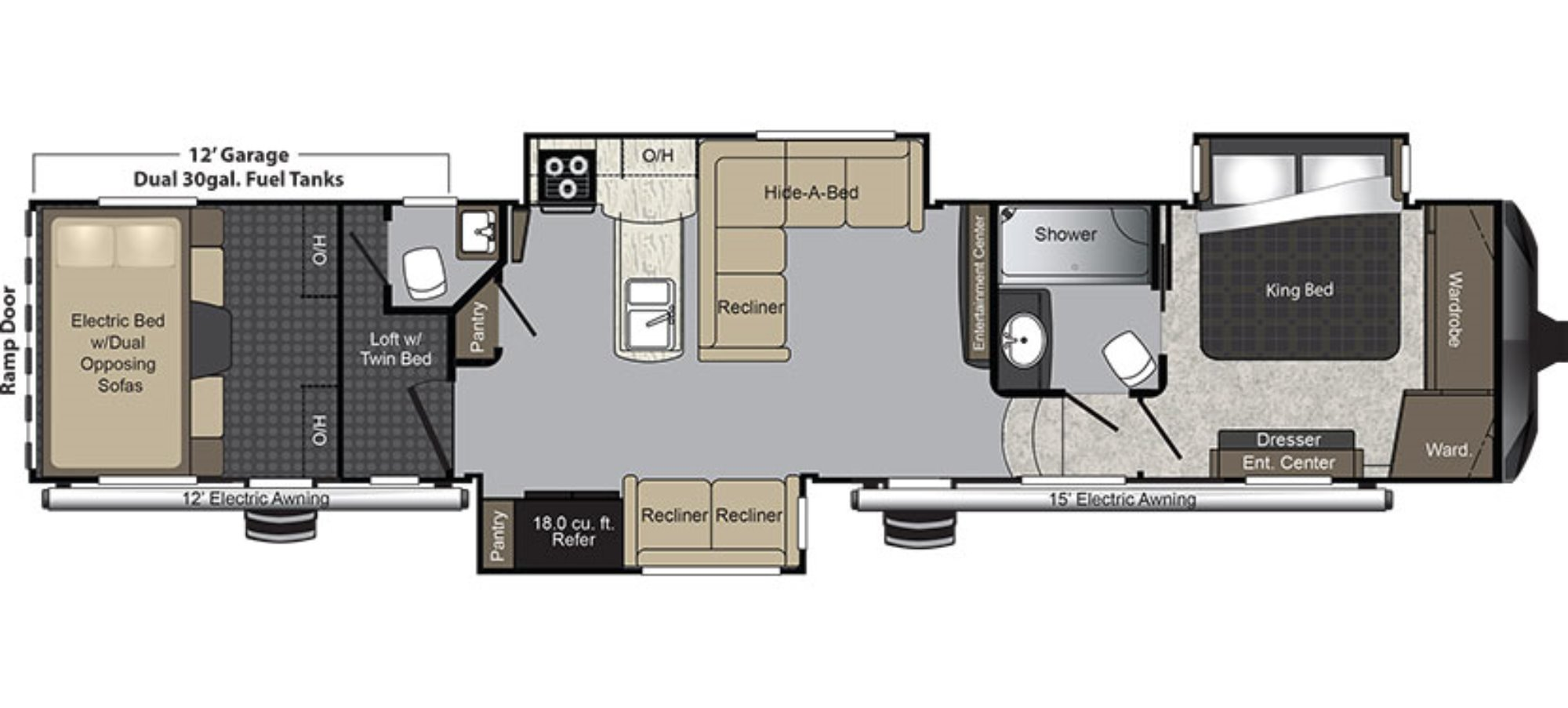 New 2016 keystone raptor 425ts fifth wheel toy hauler for for Floor plans 5th wheel campers