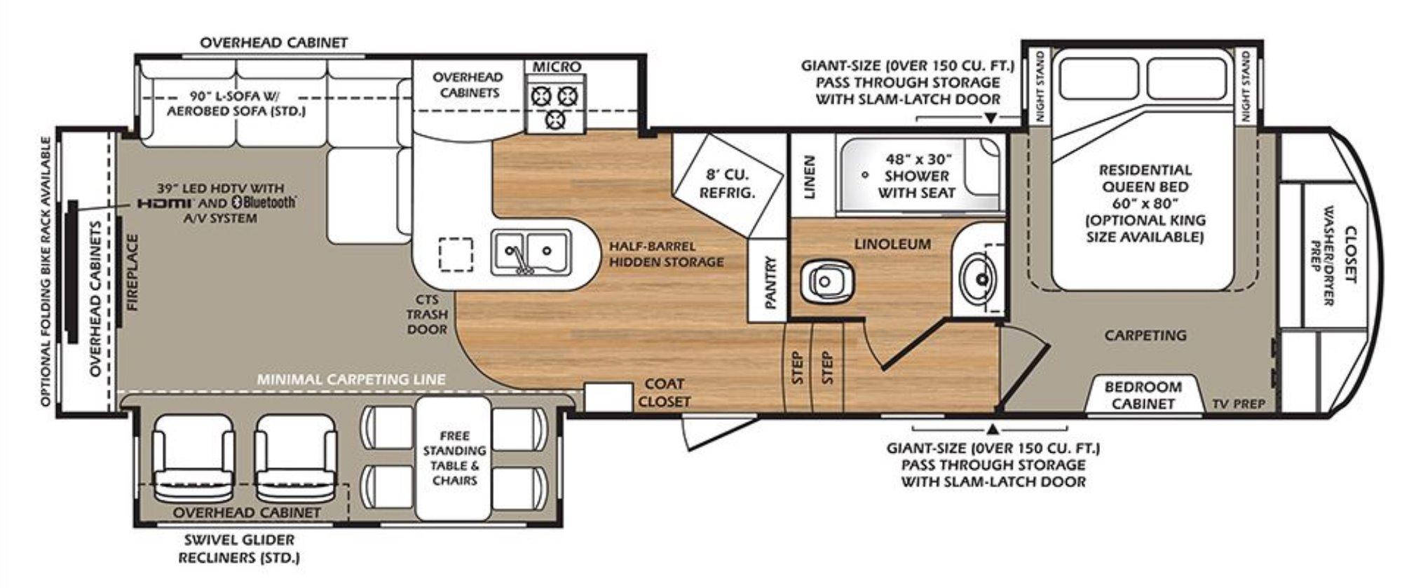 View Floor Plan for 2016 FOREST RIVER WILDCAT 327CK