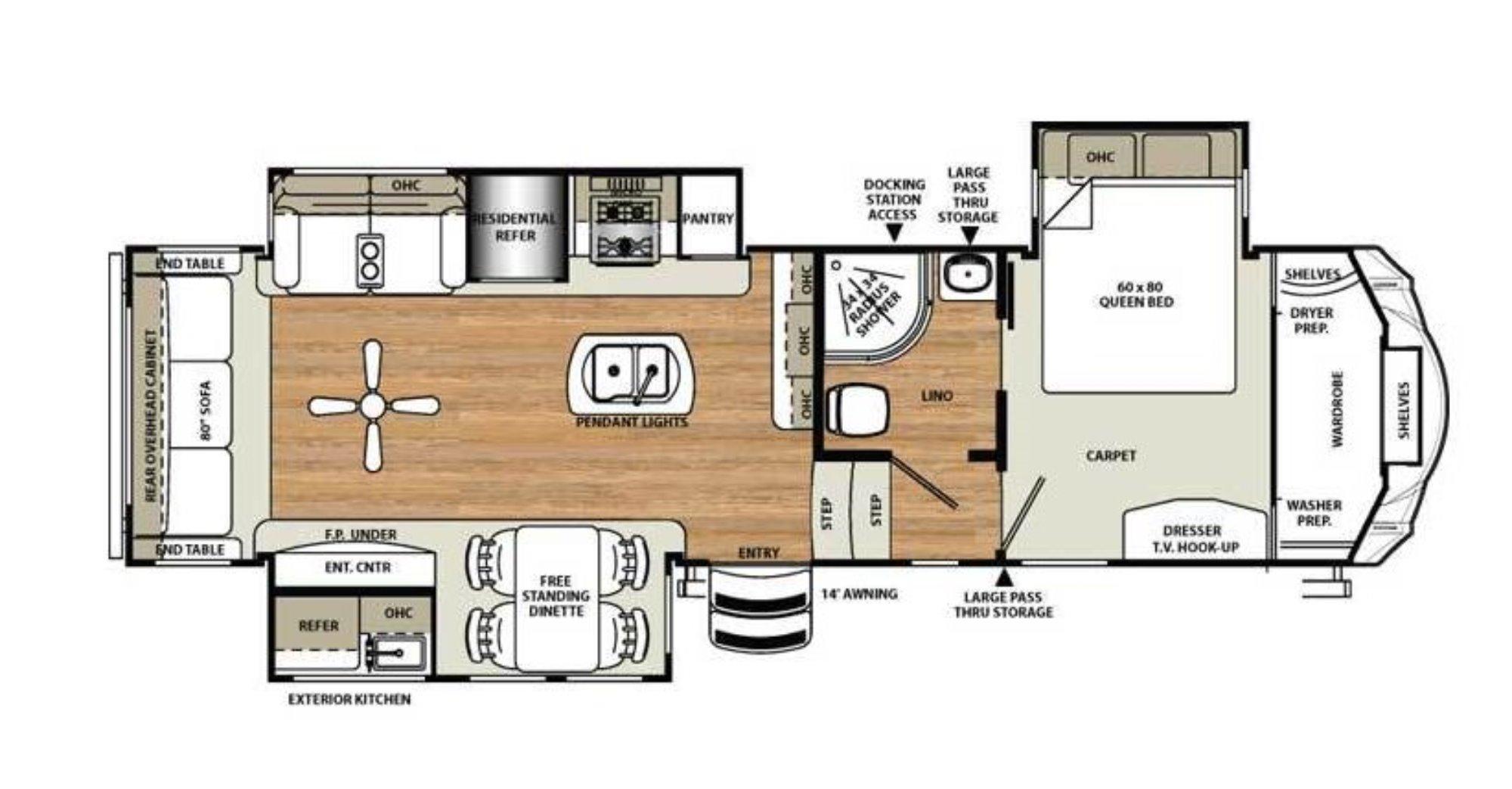 View Floor Plan for 2016 FOREST RIVER SIERRA 343RSOK