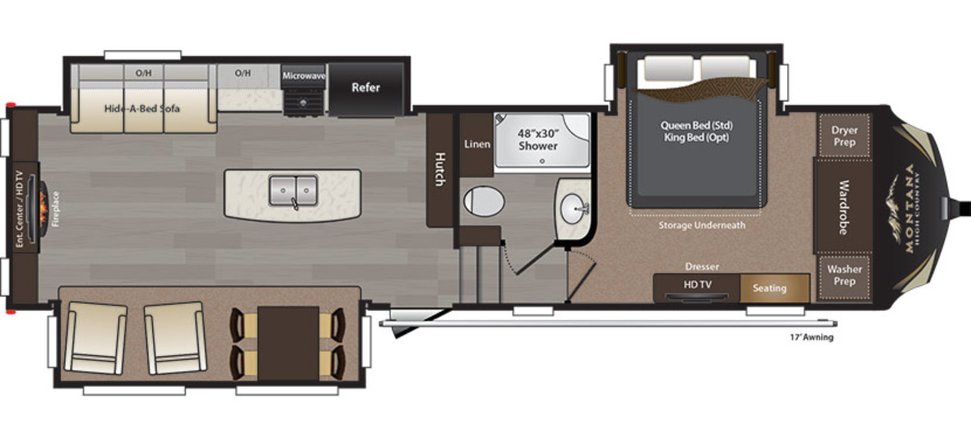 View Floor Plan for 2016 KEYSTONE MONTANA HIGH COUNTRY 310RE