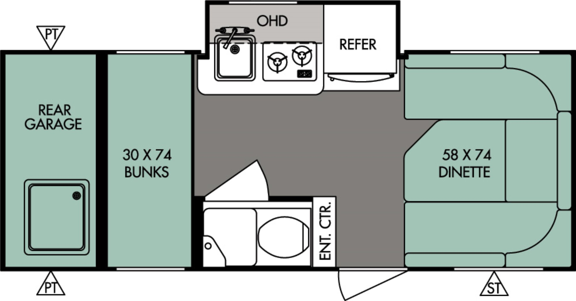 View Floor Plan for 2016 FOREST RIVER R-POD 182G