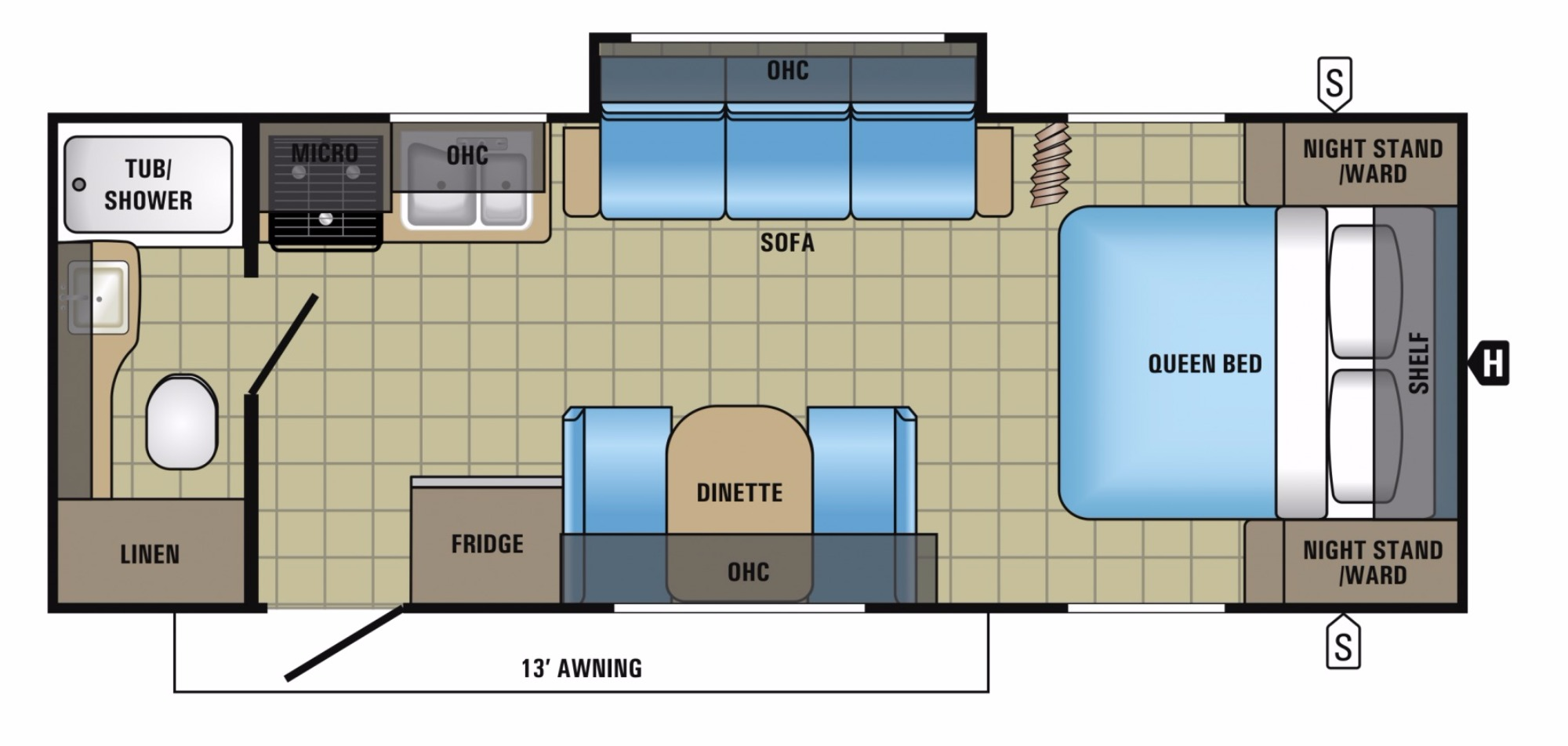 2017 jayco jay feather 22fqsw camping world of oklahoma for Floor plans jayco travel trailers
