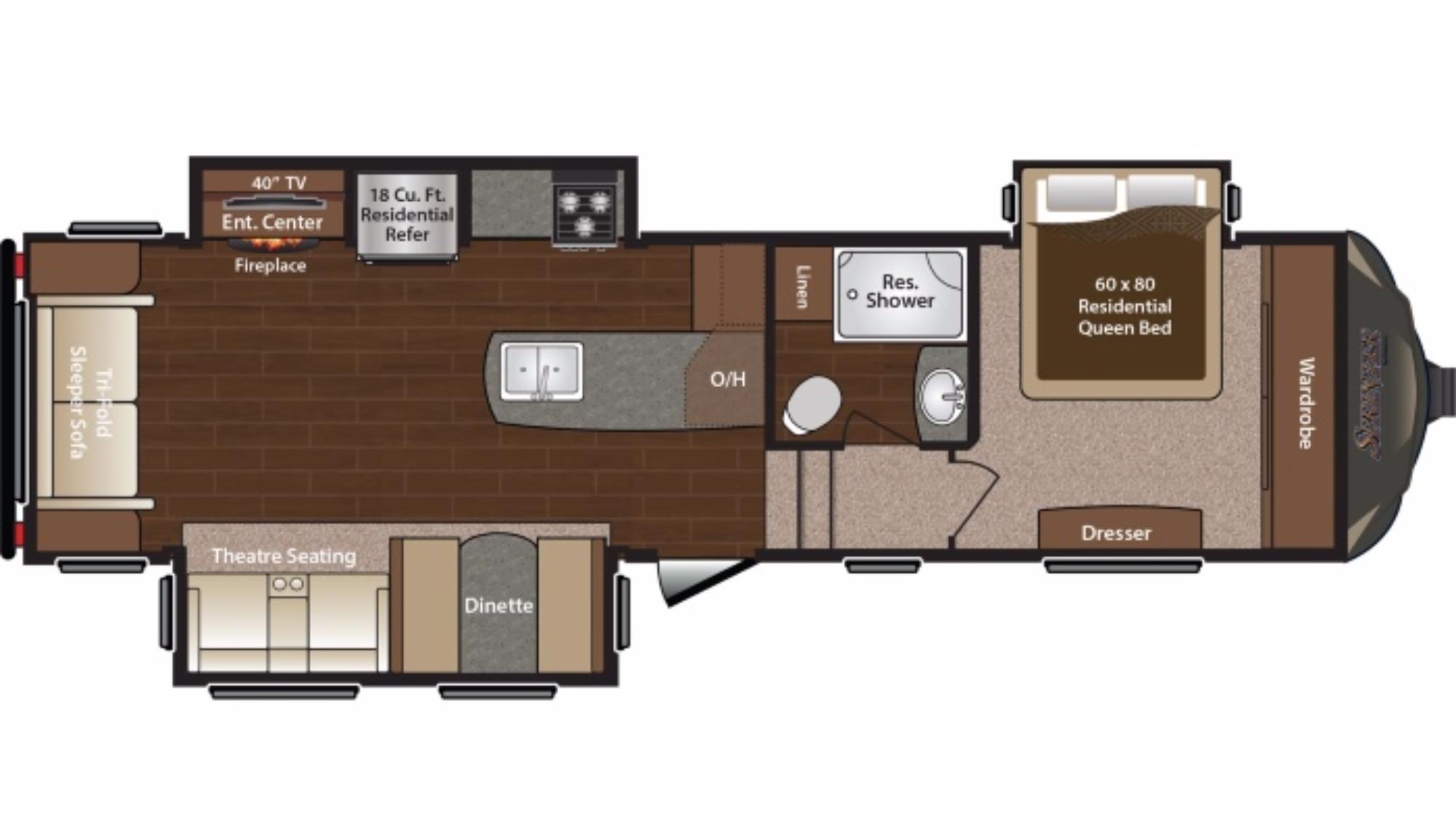 View Floor Plan for 2016 KEYSTONE SPRINTER 289FWMLS