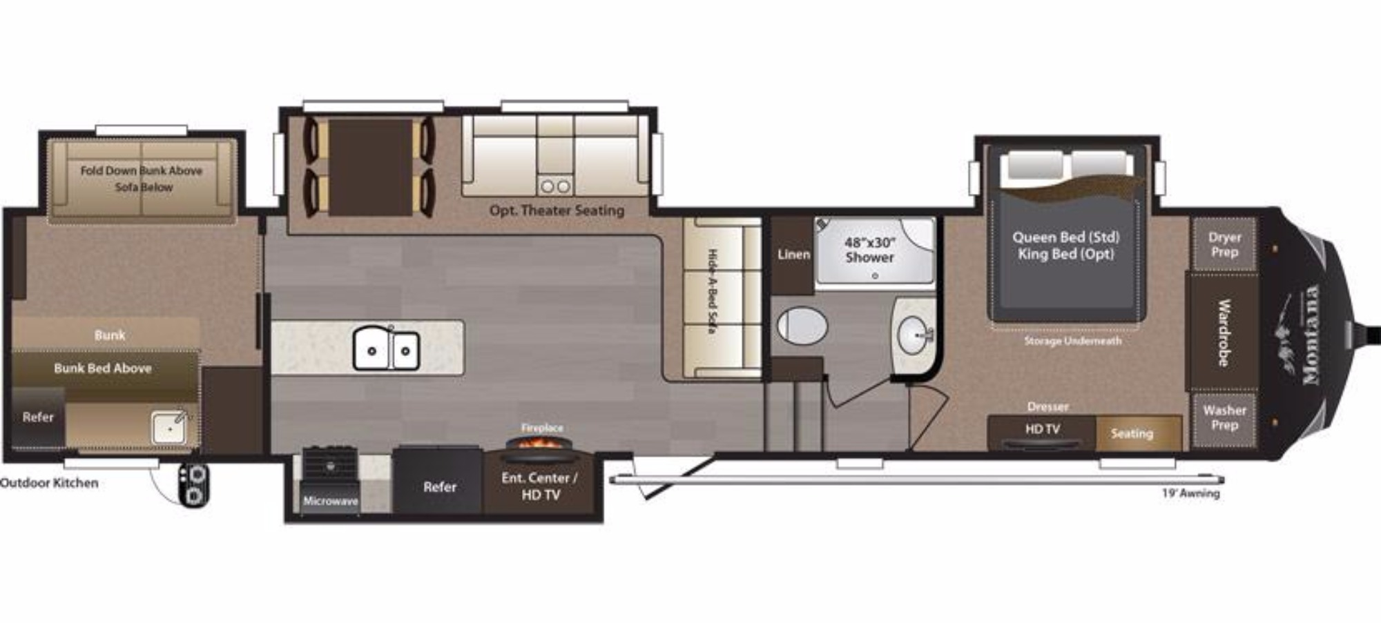 View Floor Plan for 2016 KEYSTONE MONTANA HIGH COUNTRY 340BH