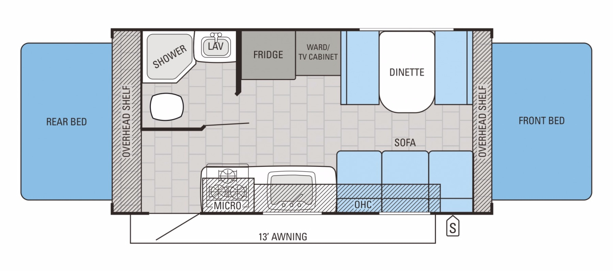 View Floor Plan for 2016 JAYCO JAY FEATHER X19H