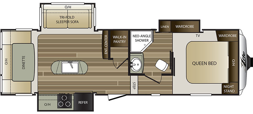 View Floor Plan for 2016 KEYSTONE COUGAR 27RDS