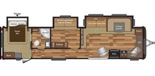 View Floor Plan for 2016 KEYSTONE HIDEOUT 38FKTS