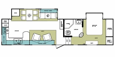 View Floor Plan for 2010 FOREST RIVER CARDINAL 3100RK
