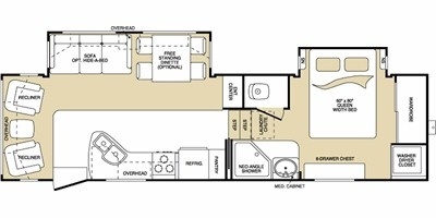 View Floor Plan for 2008 KEYSTONE MONTANA 2955RL