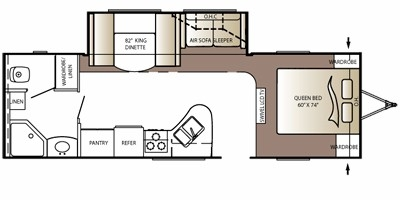 View Floor Plan for 2010 KEYSTONE OUTBACK 269RB