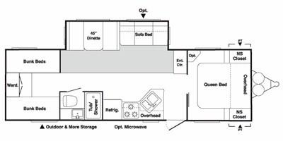 View Floor Plan for 2009 KEYSTONE SPRINGDALE 298BHSSR