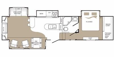 View Floor Plan for 2010 KEYSTONE ALPINE 3500RE