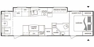 View Floor Plan for 2011 KEYSTONE BULLET 288RLS