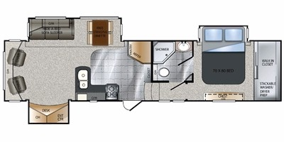 View Floor Plan for 2011 KEYSTONE ALPINE 3200RL