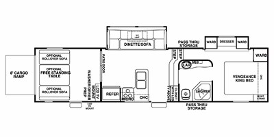View Floor Plan for 2013 FOREST RIVER VENGEANCE 306V