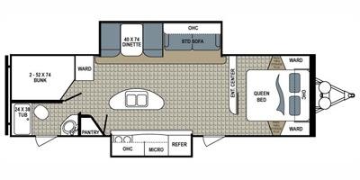View Floor Plan for 2014 DUTCHMEN KODIAK 276BHSL