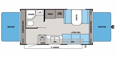 View Floor Plan for 2015 JAYCO JAY FEATHER ULTRALITE X19H