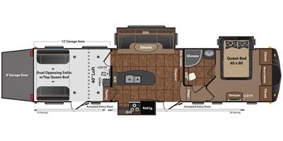 View Floor Plan for 2013 KEYSTONE FUZION 342