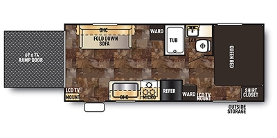View Floor Plan for 2015 FOREST RIVER GREY WOLF 19RR