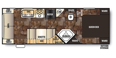 View Floor Plan for 2015 FOREST RIVER GREY WOLF 25RL