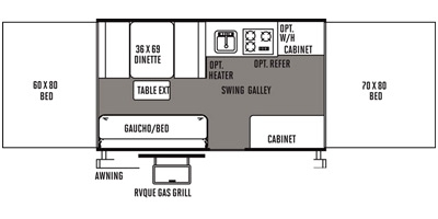 View Floor Plan for 2014 FOREST RIVER ROCKWOOD FREEDOM 2280