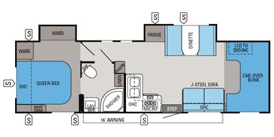 View Floor Plan for 2014 JAYCO GREYHAWK 31DS