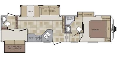 View Floor Plan for 2014 KEYSTONE COUGAR 301SAB