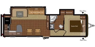 View Floor Plan for 2014 KEYSTONE HIDEOUT 30RKDS