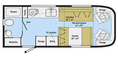 View Floor Plan for 2014 WINNEBAGO TREND 23B