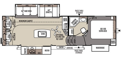 View Floor Plan for 2015 FOREST RIVER FLAGSTAFF CLASSIC SUPER LITE 8528RLIKWS