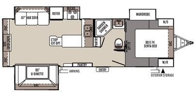 View Floor Plan for 2015 FOREST RIVER FLAGSTAFF SUPER LITE 27RLWS