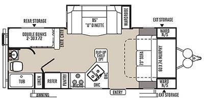 View Floor Plan for 2015 FOREST RIVER ROCKWOOD MINI LITE 2504S